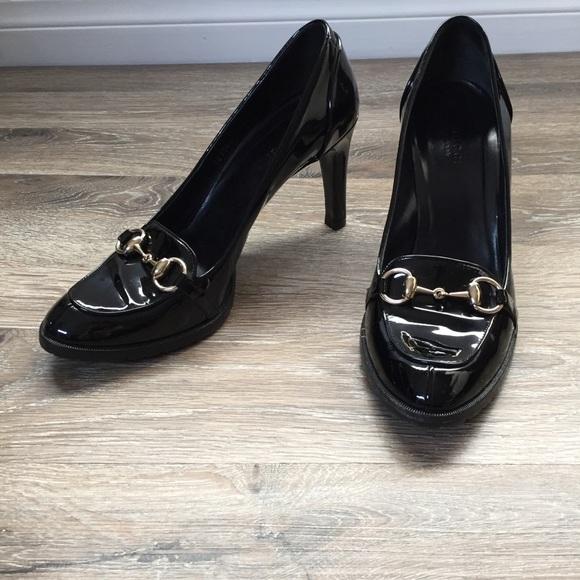 c759f19ea30b39 Gucci Shoes - Gucci Black Patent Leather Horsebit Loafer Pumps